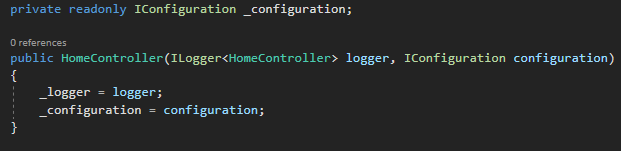 DI IConfiguration HomeController.cs